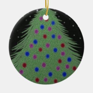 夜オーナメントのクリスマスツリー セラミックオーナメント