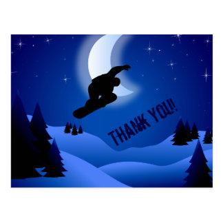 夜スノーボードの山および月は感謝していしています ポストカード