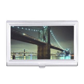 夜マンハッタン橋のブルックリン橋 名刺入れ