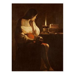 夜ライトを持つマグダラのマリア、1630-35年 ポストカード