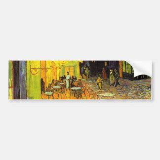 夜ヴィンテージの芸術のフィンセント・ファン・ゴッホのカフェ台地 バンパーステッカー