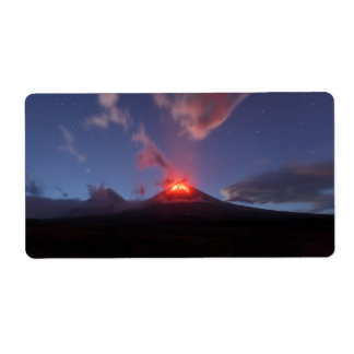 夜噴火の火山 ラベル