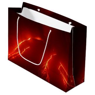 夜噴火の火山: 白熱[赤熱]光を放つな溶岩流 ラージペーパーバッグ