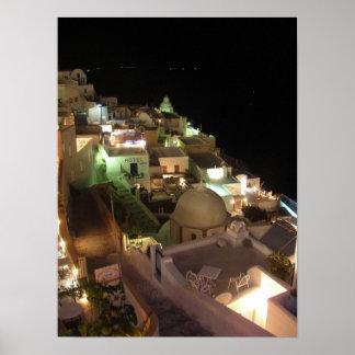 夜場面Santorini ポスター