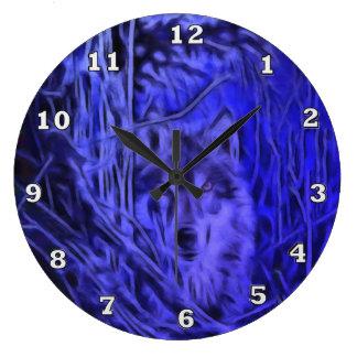 夜戦士のオオカミの時計 ラージ壁時計