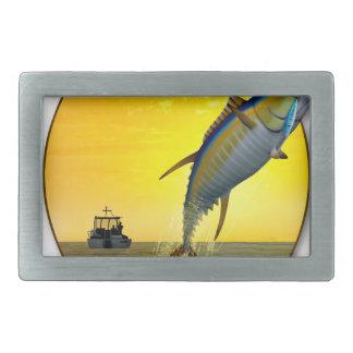 夜明けにスポーツの魚釣り 長方形ベルトバックル