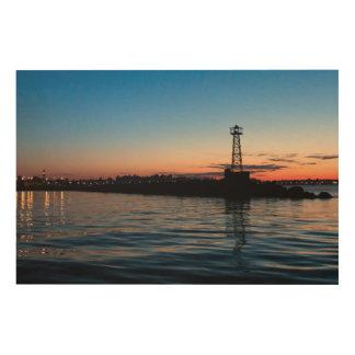 夜明けにモンテビデオ、ウルグアイの眺め ウッドウォールアート