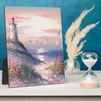 夜明けに灯台の絵画 フォトプラーク