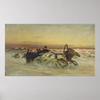 夜明けに疾走する冬のトロイカ ポスター