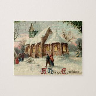 夜明けの固まりのヴィンテージのクリスマス教会教区民 ジグソーパズル