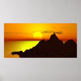 夜明け日曜日および山 ポスター