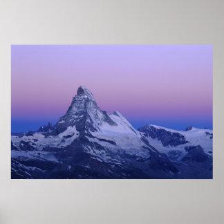 夜明け、Zermattのスイスのアルプスにマッターホルン、 ポスター