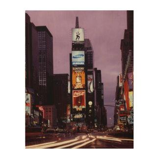 夜木製の壁の芸術のニューヨーク・タイムズスクエア ウッドウォールアート
