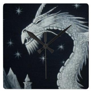夜柱時計のドラゴン スクエア壁時計