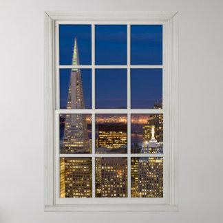 夜模造のな擬似白い窓のサンフランシスコ ポスター
