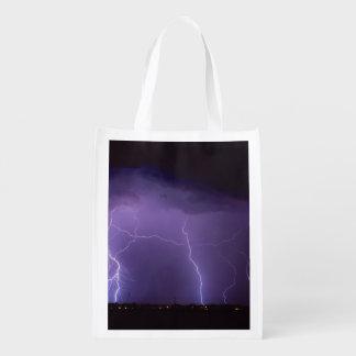 夜砂漠の雷雨の紫色の稲妻 エコバッグ