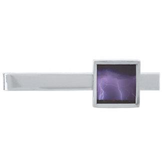 夜砂漠の雷雨の紫色の稲妻 銀色 ネクタイピン