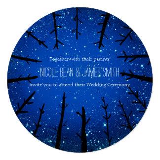 夜空の素朴な結婚式招待状の木 13.3 スクエアインビテーションカード