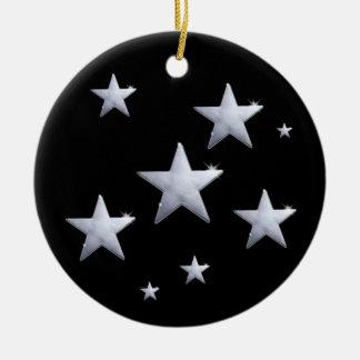 夜空の輝やきの星 陶器製丸型オーナメント