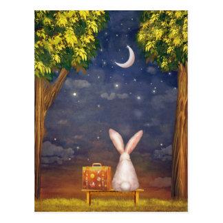 夜空検討するスーツケースが付いているウサギ ポストカード