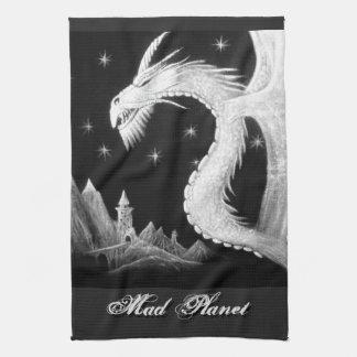 夜絵画のドラゴン キッチンタオル