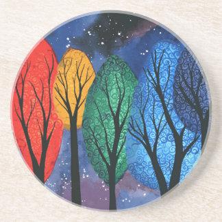 夜色-虹の渦巻形のな木の星明かりの空 コースター