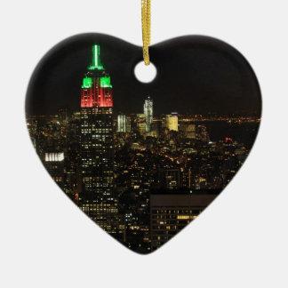 夜01のエンパイア・ステート・ビルディングのクリスマス色 セラミックオーナメント
