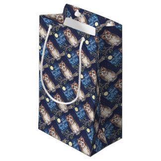 """夜""""フクロウ愛""""元のデザインのギフト用包装紙 スモールペーパーバッグ"""