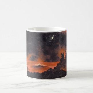 夜、ca.の1880年代ハワイの火山 コーヒーマグカップ