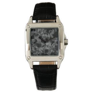 夢および悪夢の完全な正方形の黒の革 腕時計