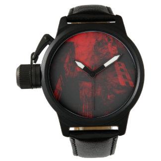 夢および悪夢の王冠の保護装置の黒の革 腕時計