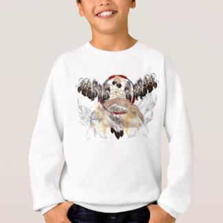 夢のキャッチャーおよび羽タカの顔のワイシャツ(広い) スウェットシャツ