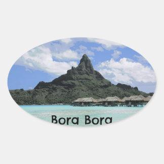 夢の休暇のBora Boraタヒチの環礁の形成 楕円形シール