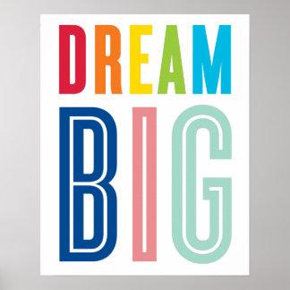 夢の大きい引用文のモダンなタイポグラフィの明るい色 ポスター