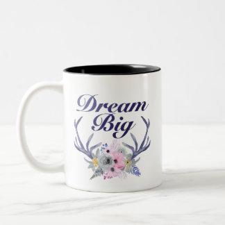 夢の大きい花の(雄ジカの)枝角のマグ ツートーンマグカップ