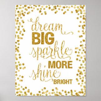 夢の大きい輝き多く輝やきの明るい金ゴールドの紙吹雪 ポスター
