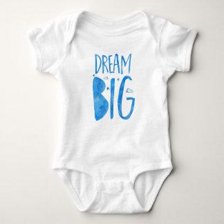夢の大きく、感動的な引用文、青い水彩画 ベビーボディスーツ