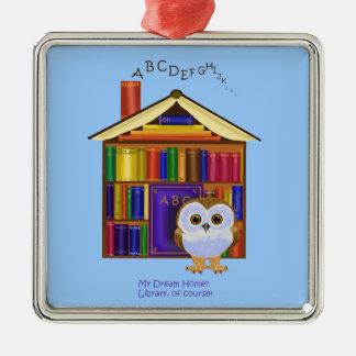 夢の家庭の図書館! シルバーカラー正方形オーナメント