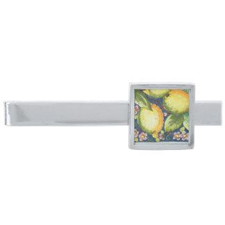 夢の庭-レモンおよび花のタイル 銀色 ネクタイピン