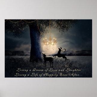 夢の~の満月、木およびシカ住んでいます ポスター