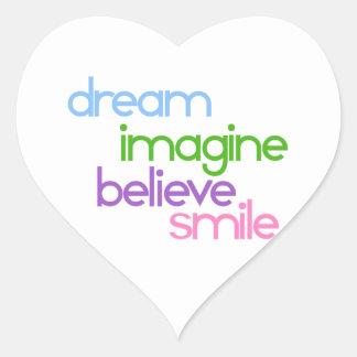 夢は信じますスマイルを想像します ハートシール