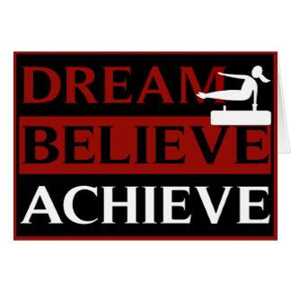 夢は達成します体操の挨拶状を信じます カード