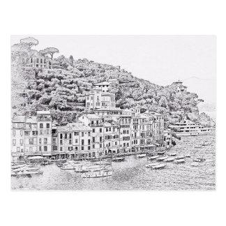 夢みるようでロマンチックなPortofinoのイタリアの郵便はがき ポストカード