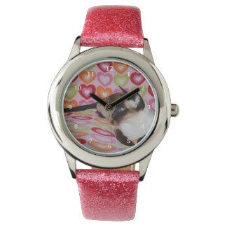 夢みるようなシャム猫のハート 腕時計