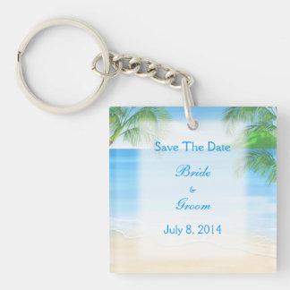 夢みるようなビーチ結婚式の保存日付 キーホルダー