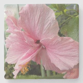 夢みるようなピンクのハイビスカスの花柄 ストーンコースター