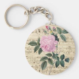夢みるようなピンクのバラ キーホルダー