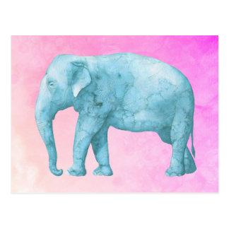 夢みるようなピンクの水彩画の淡いブルーの象 ポストカード