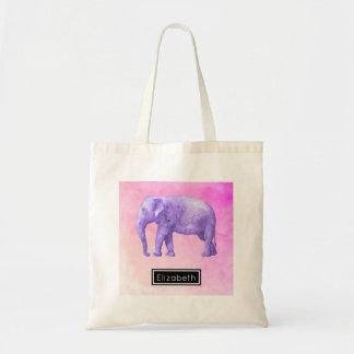 夢みるようなピンクの水彩画の紫色象 トートバッグ