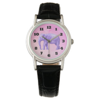 夢みるようなピンクの水彩画の紫色象 腕時計